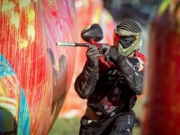 Paintball player equipped