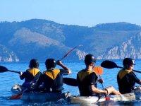 kayaks en agua