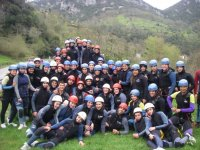 Large group of canyoning