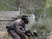 Paintball player in the Murcia field
