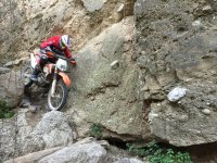With the motorcycle on the rocks