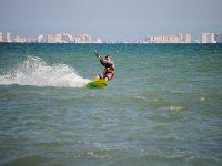 Haciendo kite en las costas de Murcia