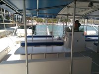 Covered seats of the catamaran