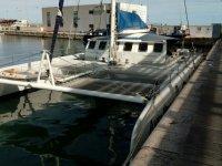 A catamaran waiting for the crew