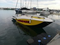 Parasailing boat in the port of Cambrils