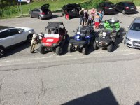 Quads and buggies parked
