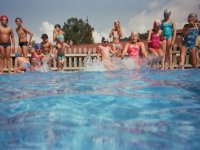 Group jump to the pool