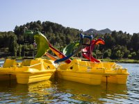 皮艇在水库水脚踏船桨冲浪