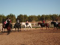 Clase con alumnos de equitacion