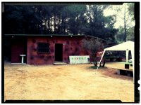 Paintball area with tent