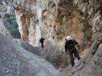 Dry rappel in ravine
