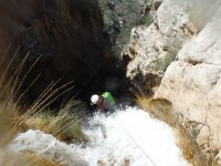 Rappel attached to the waterfall
