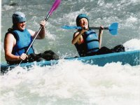 Fight against the current in a canoe