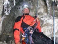 Rappelling the inside of the cave