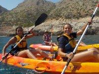 Kayaking in the orange kayak