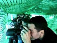 Dos alumnos fotografiando aves en nuestra escuela