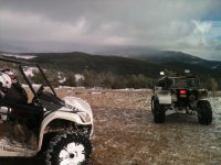 Buggies parked in the mountains