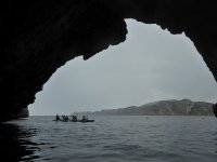 Entering the cave with the kayaks