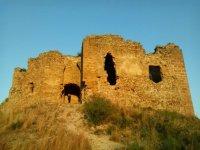 广场斗牛Bocairent的太阳下山了城堡
