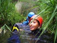 Boy doing canyoning