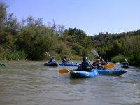Canoe in white water