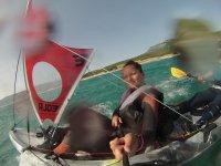Sailing kayak off the coast of Tarifa