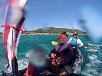 Kayak equipped with sail in Tarifa