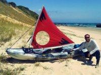 Posing with the kayak under sail in Punta Paloma