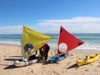 Preparing the kayaks under sail