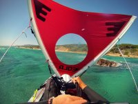 Sail on the front of the kayak