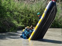 Falling into the water from the raft