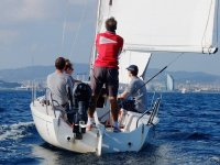 Patron y marineros en el barco Barcelona