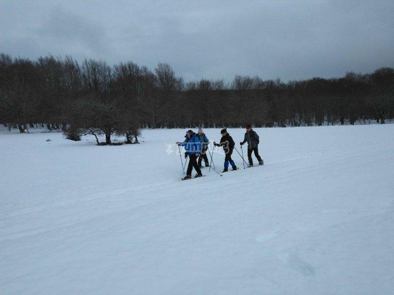 Caminando por el manto de nieve con raquetas