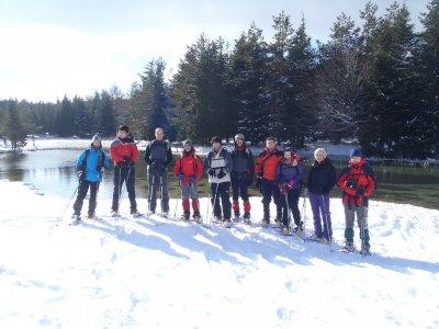 在Sierra de Entzia的雪鞋路线