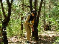 Campo de paintball en bosque natural