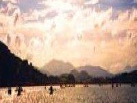 Sunset over a canoe
