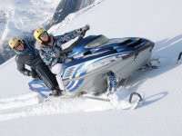 Sheltered riding the snowmobile
