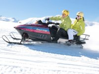 With yellow helmets on the snowmobile