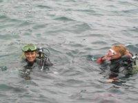 In superficie dopo l'immersione
