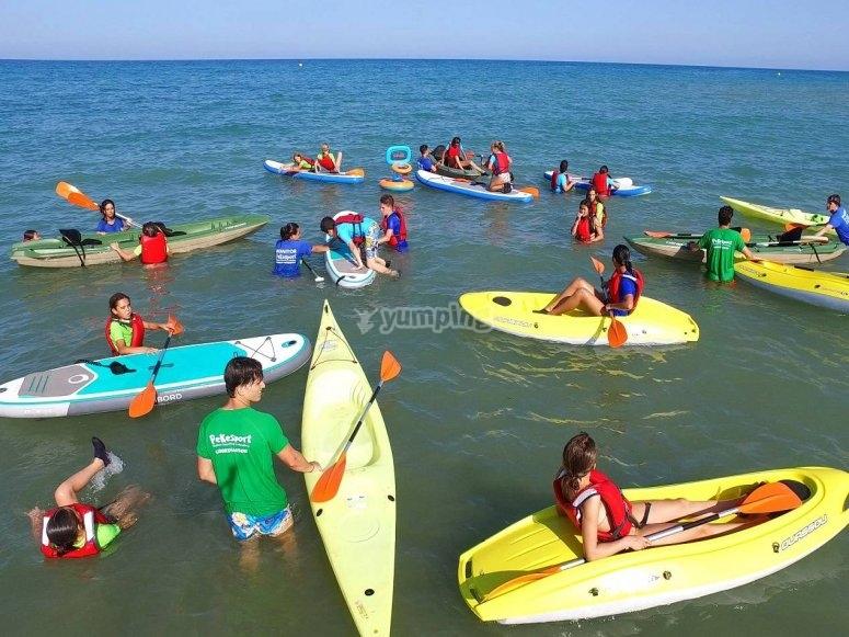 Kayak y sup en el Mediterraneo