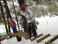 Pasarela de madera nevada