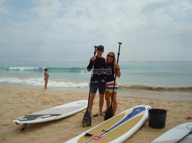 Practising Paddle Surf