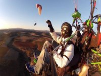 Bachelor party flying in paragliding