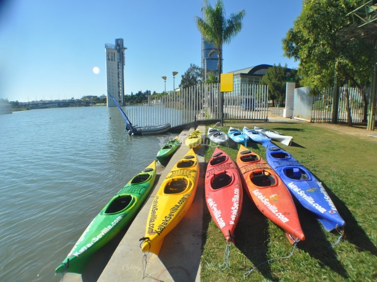 Flota de kayaks para recorre el Guadalquivir