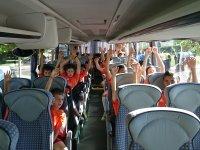 En el bus del campus