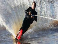 Practicing wakeboarding in Denia