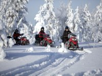 Following the path on snowmobiles
