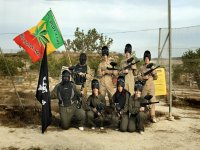 Paintball team with flags