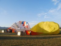 Inflating the balloons to fly