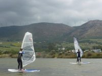 Windsurfing in calm waters